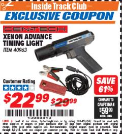 Harbor Freight ITC Coupon XENON ADVANCE TIMING LIGHT Lot No. 40963 Expired: 5/31/18 - $22.99
