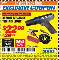 Harbor Freight ITC Coupon XENON ADVANCE TIMING LIGHT Lot No. 40963 Dates Valid: 12/31/69 - 6/30/18 - $22.99