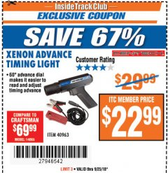 Harbor Freight ITC Coupon XENON ADVANCE TIMING LIGHT Lot No. 40963 Expired: 9/25/18 - $22.99