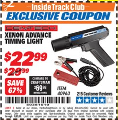 Harbor Freight ITC Coupon XENON ADVANCE TIMING LIGHT Lot No. 40963 Valid Thru: 1/31/19 - $22.99