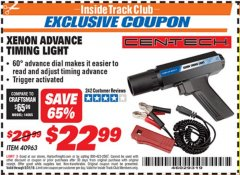 Harbor Freight ITC Coupon XENON ADVANCE TIMING LIGHT Lot No. 40963 Expired: 5/31/19 - $22.99