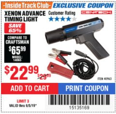 Harbor Freight ITC Coupon XENON ADVANCE TIMING LIGHT Lot No. 40963 Expired: 6/5/19 - $22.99