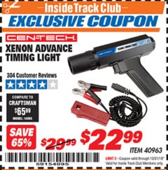 Harbor Freight ITC Coupon XENON ADVANCE TIMING LIGHT Lot No. 40963 Expired: 10/31/19 - $22.99