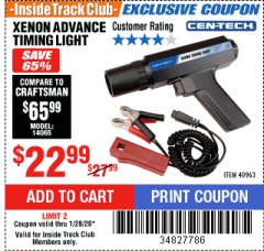 Harbor Freight ITC Coupon XENON ADVANCE TIMING LIGHT Lot No. 40963 Expired: 1/28/20 - $22.99