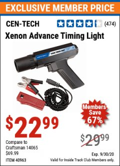 Harbor Freight ITC Coupon XENON ADVANCE TIMING LIGHT Lot No. 40963 Valid: 9/1/20 - 9/30/20 - $22.99