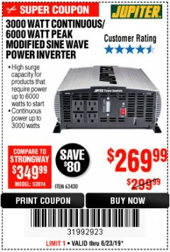 Harbor Freight Coupon 3000 WATT CONTINUOUS/ 6000 WATT PEAK MODIFIED SINE WAVE POWER CONVERTER Lot No. 63430 Expired: 6/23/19 - $269.99