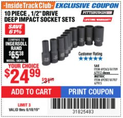 "Harbor Freight ITC Coupon 10 PIECE, 1/2"" DRIVE DEEP IMPACT SOCKET SETS Lot No. 67912/69263/61709/69287/61707/67915 Expired: 6/18/19 - $24.99"