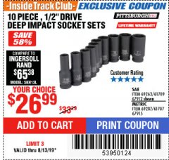 "Harbor Freight ITC Coupon 10 PIECE, 1/2"" DRIVE DEEP IMPACT SOCKET SETS Lot No. 67912/69263/61709/69287/61707/67915 Expired: 8/13/19 - $26.99"