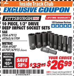 "Harbor Freight ITC Coupon 10 PIECE, 1/2"" DRIVE DEEP IMPACT SOCKET SETS Lot No. 67912/69263/61709/69287/61707/67915 Expired: 9/30/19 - $26.99"