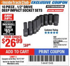 "Harbor Freight ITC Coupon 10 PIECE, 1/2"" DRIVE DEEP IMPACT SOCKET SETS Lot No. 67912/69263/61709/69287/61707/67915 Expired: 12/17/19 - $26.99"