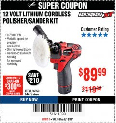 Harbor Freight Coupon 12 VOLT LITHIUM CORDLESS POLISHER/SANDER KIT Lot No. 56659 Expired: 8/18/19 - $89.99
