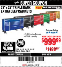 "Harbor Freight Coupon 72"" Lot No. 56116/56117/56118/64003/64004/64167 Expired: 6/23/19 - $0"
