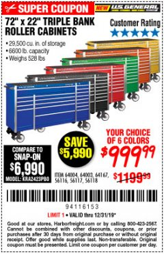 "Harbor Freight Coupon 72"" Lot No. 56116/56117/56118/64003/64004/64167 Valid Thru: 12/31/19 - $999.99"