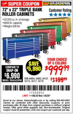 "Harbor Freight Coupon 72"" Lot No. 56116/56117/56118/64003/64004/64167 Expired: 1/6/20 - $999.99"