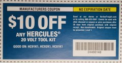 Harbor Freight Coupon HERCULES 20V TOOL KIT Lot No. HC91K1 Valid: 6/18/19 - 12/31/50 - $10