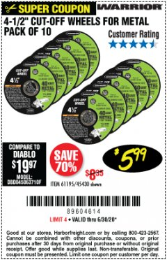 "Harbor Freight Coupon 4-1/2"" CUT-OFF WHEELS FOR METAL-PACK OF 10 Lot No. 61195/45430 Expired: 6/30/20 - $5.99"