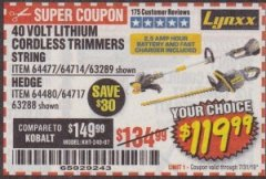 Harbor Freight Coupon 40 VOLT LITHIUM CORDLESS TRIMMERS STRING Lot No. 64477/64717/63289 Expired: 7/31/19 - $119.99