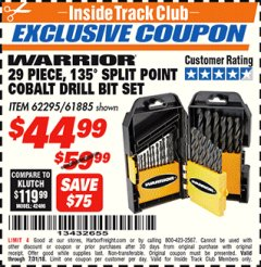 Harbor Freight ITC Coupon 29 PIECE 135 SPLIT POINT COBALT DRILL BIT SET Lot No. 36891/62295/61885 Expired: 7/31/18 - $44.99