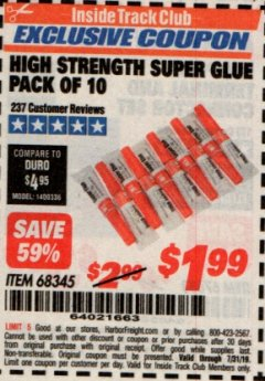 Harbor Freight ITC Coupon HIGH STRENGTH SUPER GLUE PACK OF 10 Lot No. 68345 Expired: 7/31/19 - $1.99