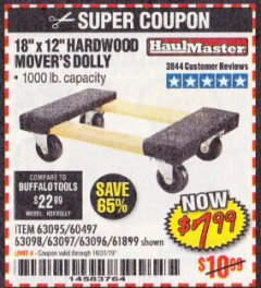 "Harbor Freight Coupon 18""X12"", 1000 LB. HARDWOOD MOVER'S DOLLY Lot No. 63095/63098/63097/60497/63096/61899 Expired: 10/31/19 - $7.99"