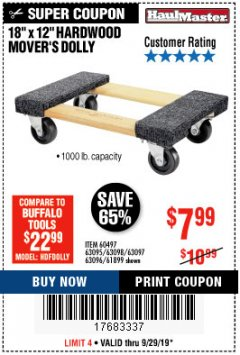 "Harbor Freight Coupon 18""X12"", 1000 LB. HARDWOOD MOVER'S DOLLY Lot No. 63095/63098/63097/60497/63096/61899 Expired: 9/29/19 - $7.99"