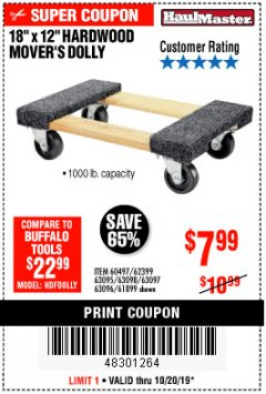 "Harbor Freight Coupon 18""X12"", 1000 LB. HARDWOOD MOVER'S DOLLY Lot No. 63095/63098/63097/60497/63096/61899 Expired: 10/20/19 - $7.99"