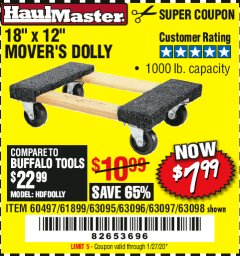 "Harbor Freight Coupon 18""X12"", 1000 LB. HARDWOOD MOVER'S DOLLY Lot No. 63095/63098/63097/60497/63096/61899 Expired: 1/27/20 - $7.99"