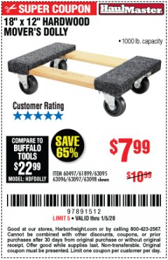 "Harbor Freight Coupon 18""X12"", 1000 LB. HARDWOOD MOVER'S DOLLY Lot No. 63095/63098/63097/60497/63096/61899 Expired: 1/5/20 - $7.99"