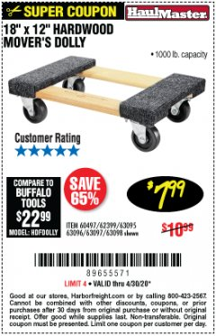 "Harbor Freight Coupon 18""X12"", 1000 LB. HARDWOOD MOVER'S DOLLY Lot No. 63095/63098/63097/60497/63096/61899 Valid Thru: 4/30/20 - $7.99"