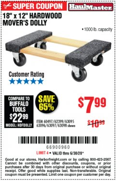 "Harbor Freight Coupon 18""X12"", 1000 LB. HARDWOOD MOVER'S DOLLY Lot No. 63095/63098/63097/60497/63096/61899 Expired: 6/30/20 - $7.99"
