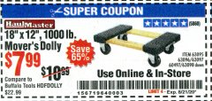 "Harbor Freight Coupon 18""X12"", 1000 LB. HARDWOOD MOVER'S DOLLY Lot No. 63095/63098/63097/60497/63096/61899 Expired: 8/21/20 - $7.99"