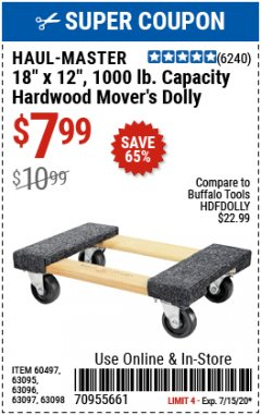 "Harbor Freight Coupon 18""X12"", 1000 LB. HARDWOOD MOVER'S DOLLY Lot No. 63095/63098/63097/60497/63096/61899 Expired: 7/15/20 - $7.99"