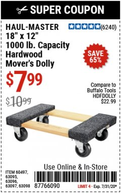 "Harbor Freight Coupon 18""X12"", 1000 LB. HARDWOOD MOVER'S DOLLY Lot No. 63095/63098/63097/60497/63096/61899 Expired: 7/31/20 - $7.99"