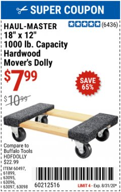"Harbor Freight Coupon 18""X12"", 1000 LB. HARDWOOD MOVER'S DOLLY Lot No. 63095/63098/63097/60497/63096/61899 Expired: 8/31/20 - $7.99"