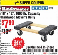 "Harbor Freight Coupon 18""X12"", 1000 LB. HARDWOOD MOVER'S DOLLY Lot No. 63095/63098/63097/60497/63096/61899 Expired: 9/21/20 - $7.99"