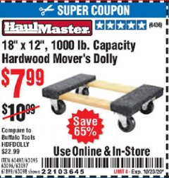 "Harbor Freight Coupon 18""X12"", 1000 LB. HARDWOOD MOVER'S DOLLY Lot No. 63095/63098/63097/60497/63096/61899 Expired: 10/23/20 - $7.99"