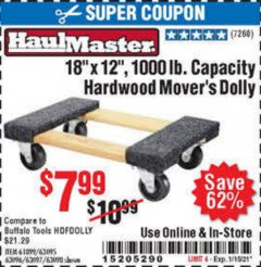 "Harbor Freight Coupon 18""X12"", 1000 LB. HARDWOOD MOVER'S DOLLY Lot No. 63095/63098/63097/60497/63096/61899 Valid Thru: 1/15/21 - $7.99"