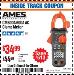 Harbor Freight ITC Coupon 600A AC CLAMP METER Lot No. 64013 Expired: 7/31/20 - $34.99