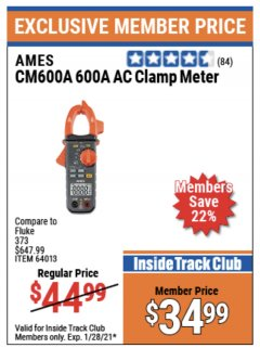 Harbor Freight ITC Coupon 600A AC CLAMP METER Lot No. 64013 Valid Thru: 1/28/21 - $34.99