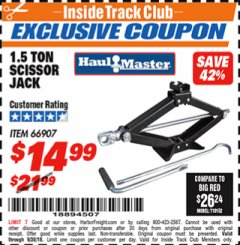 Harbor Freight ITC Coupon 1.5 TON SCISSOR JACK Lot No. 66907 Expired: 9/30/18 - $14.99