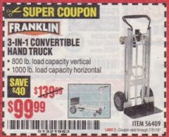 Harbor Freight Coupon FRANKLIN 3-IN-1 CONVERTIBLE HAND TRUCK Lot No. 56409 Valid Thru: 7/31/19 - $99.99