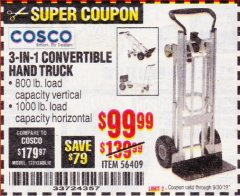 Harbor Freight Coupon FRANKLIN 3-IN-1 CONVERTIBLE HAND TRUCK Lot No. 56409 Valid Thru: 9/30/19 - $99.99