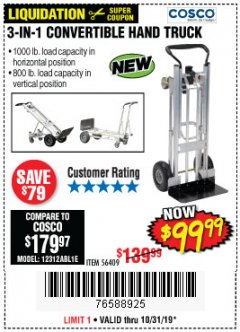 Harbor Freight Coupon FRANKLIN 3-IN-1 CONVERTIBLE HAND TRUCK Lot No. 56409 Valid Thru: 10/31/19 - $99.99