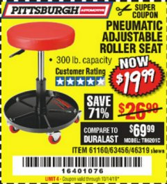 Harbor Freight Coupon MECHANIC'S ROLLER SEAT, PNEUMATIC ADJUSTABLE ROLLER SEAT Lot No. 61653, 3338, 61896, 61160, 63456, 46319 Expired: 10/14/19 - $19.99