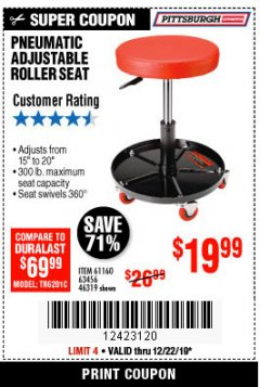 Harbor Freight Coupon MECHANIC'S ROLLER SEAT, PNEUMATIC ADJUSTABLE ROLLER SEAT Lot No. 61653, 3338, 61896, 61160, 63456, 46319 Expired: 12/22/19 - $19.99