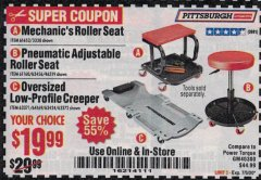 Harbor Freight Coupon MECHANIC'S ROLLER SEAT, PNEUMATIC ADJUSTABLE ROLLER SEAT Lot No. 61653, 3338, 61896, 61160, 63456, 46319 Expired: 7/5/20 - $19.99