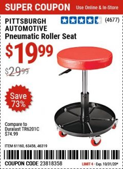 Harbor Freight Coupon MECHANIC'S ROLLER SEAT, PNEUMATIC ADJUSTABLE ROLLER SEAT Lot No. 61653, 3338, 61896, 61160, 63456, 46319 Expired: 10/31/20 - $19.99