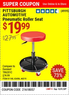 Harbor Freight Coupon MECHANIC'S ROLLER SEAT, PNEUMATIC ADJUSTABLE ROLLER SEAT Lot No. 61653, 3338, 61896, 61160, 63456, 46319 Expired: 12/31/20 - $19.99
