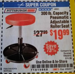 Harbor Freight Coupon MECHANIC'S ROLLER SEAT, PNEUMATIC ADJUSTABLE ROLLER SEAT Lot No. 61653, 3338, 61896, 61160, 63456, 46319 Expired: 2/22/21 - $19.99