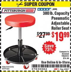 Harbor Freight Coupon MECHANIC'S ROLLER SEAT, PNEUMATIC ADJUSTABLE ROLLER SEAT Lot No. 61653, 3338, 61896, 61160, 63456, 46319 Valid Thru: 3/3/21 - $19.99